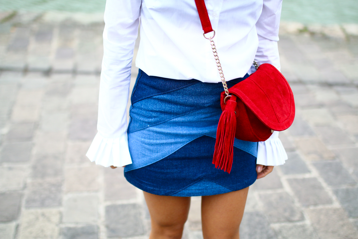 Look Seventies jupe en jean et chemise blanche I Sp4nkblog-17