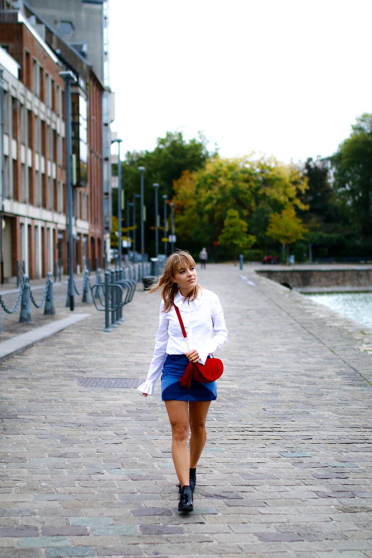 Look Seventies jupe en jean et chemise blanche I Sp4nkblog-19