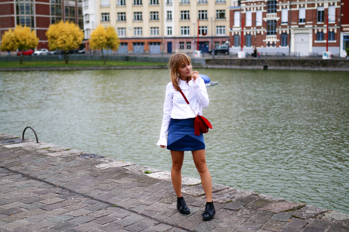 Look Seventies jupe en jean et chemise blanche I Sp4nkblog-2