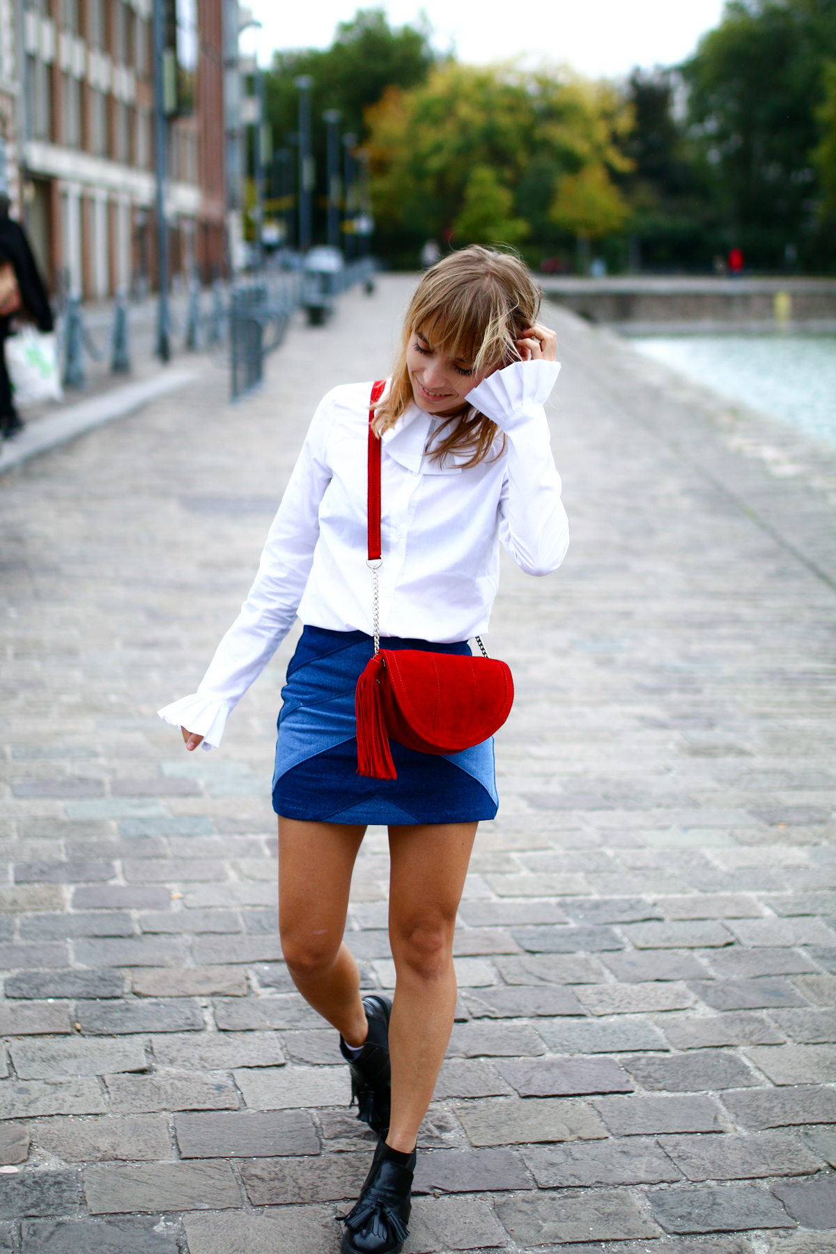 Look Seventies jupe en jean et chemise blanche I Sp4nkblog-22