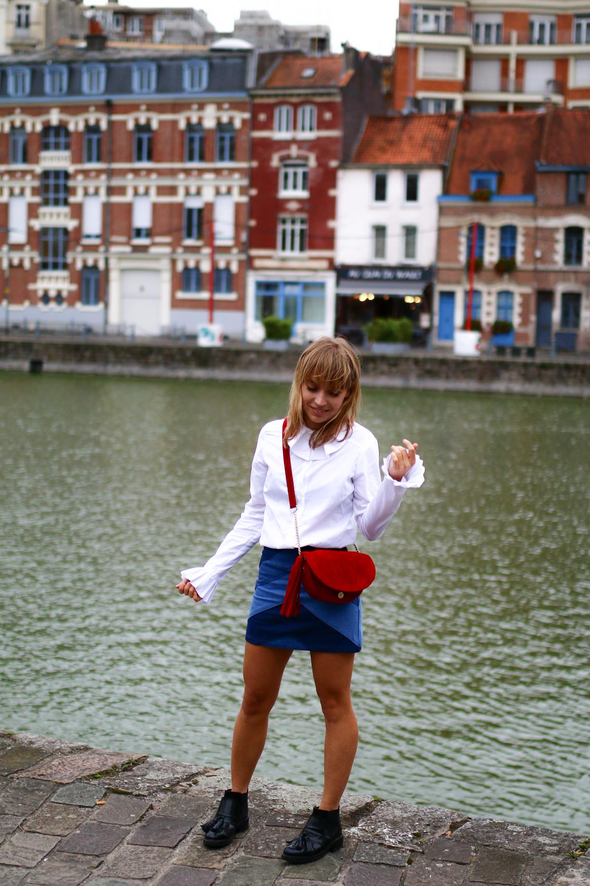 Look Seventies jupe en jean et chemise blanche I Sp4nkblog-7