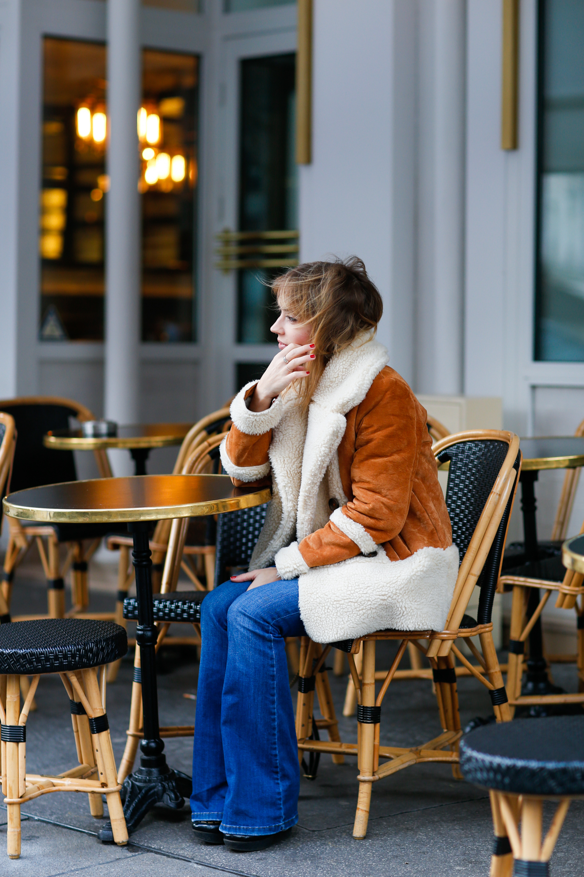 Look seventies manteau en daim et flare I Sp4nkblog