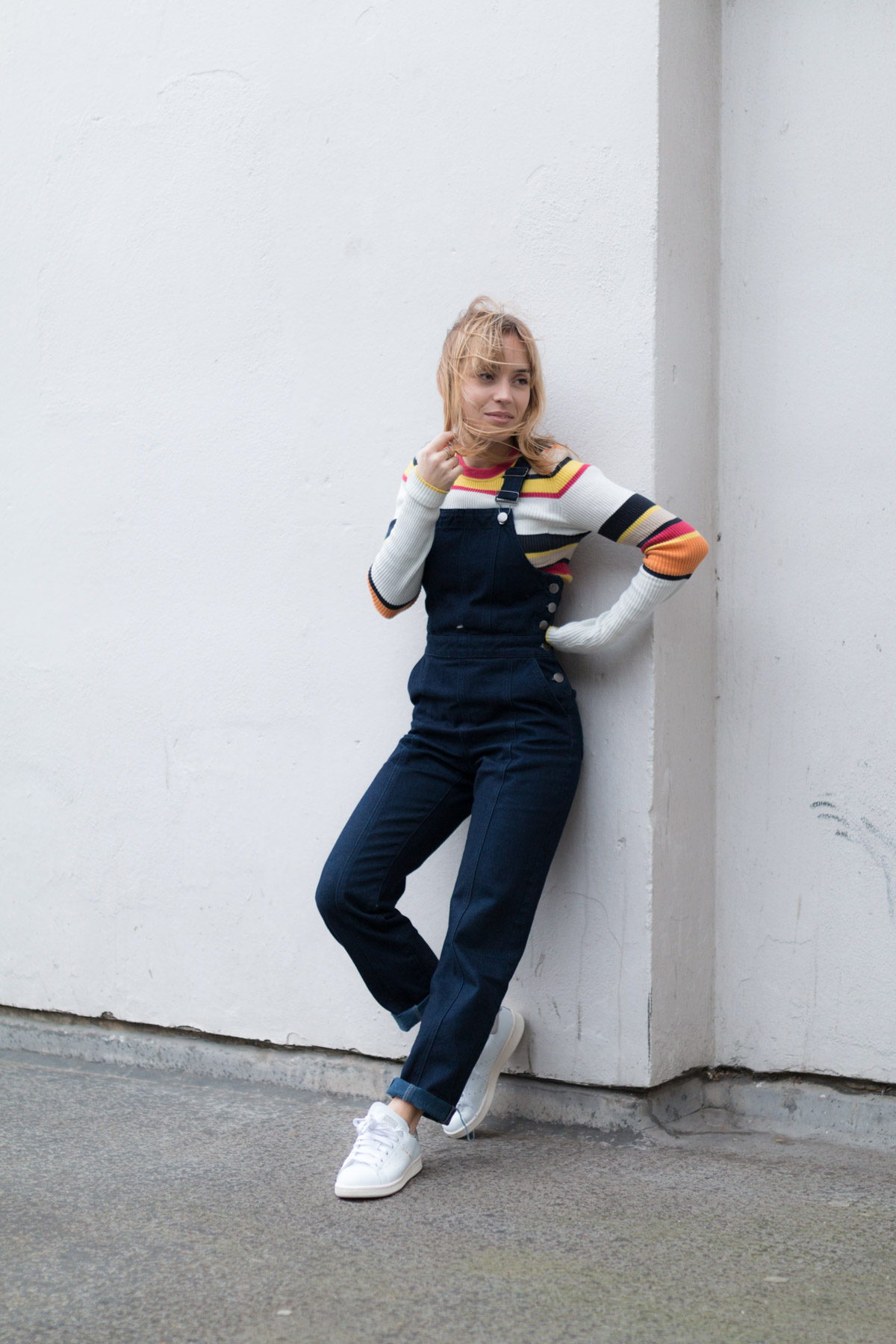 Salopette en jean pull raye et stan smith I Sp4nkblog-10