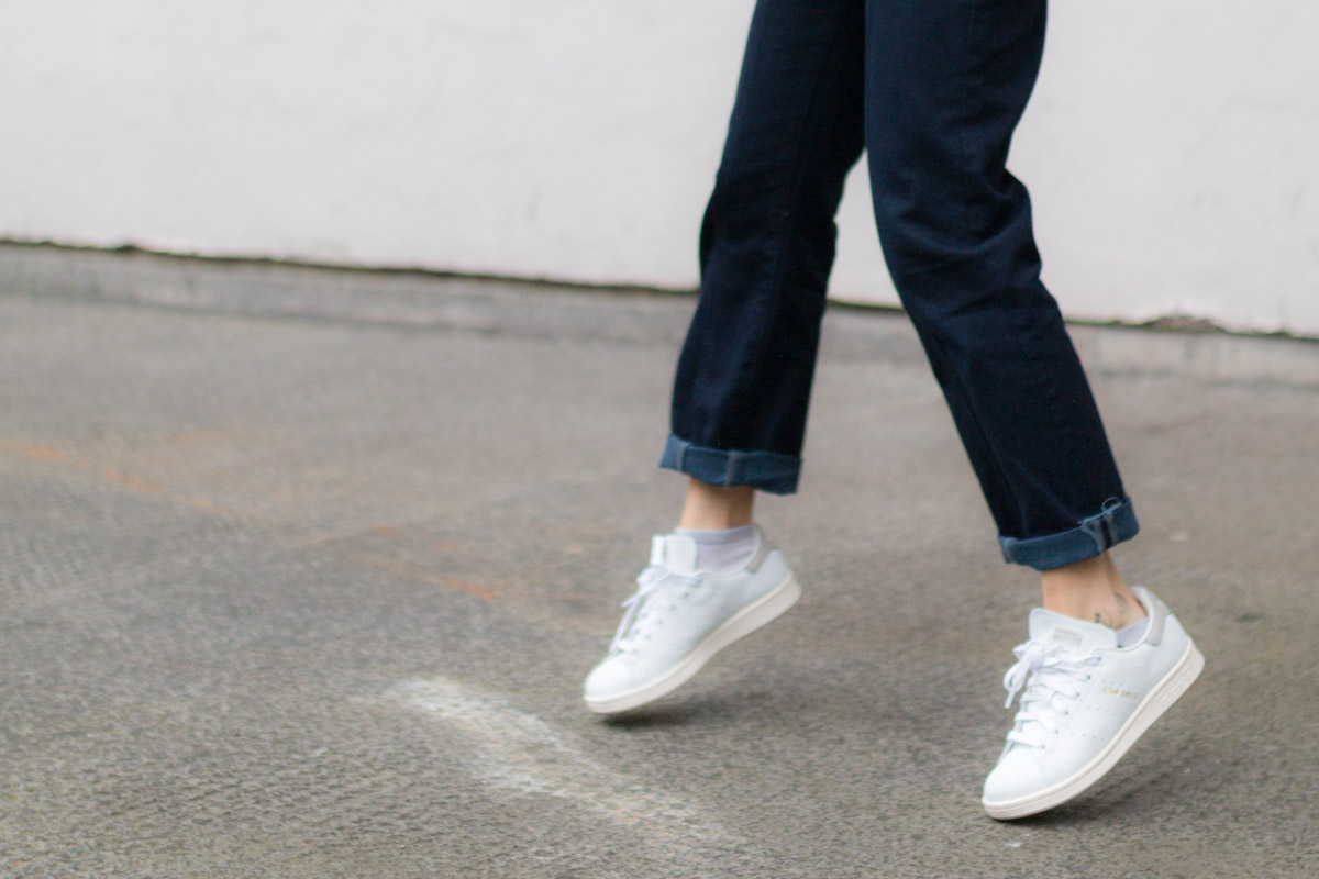 Salopette en jean pull raye et stan smith I Sp4nkblog-3