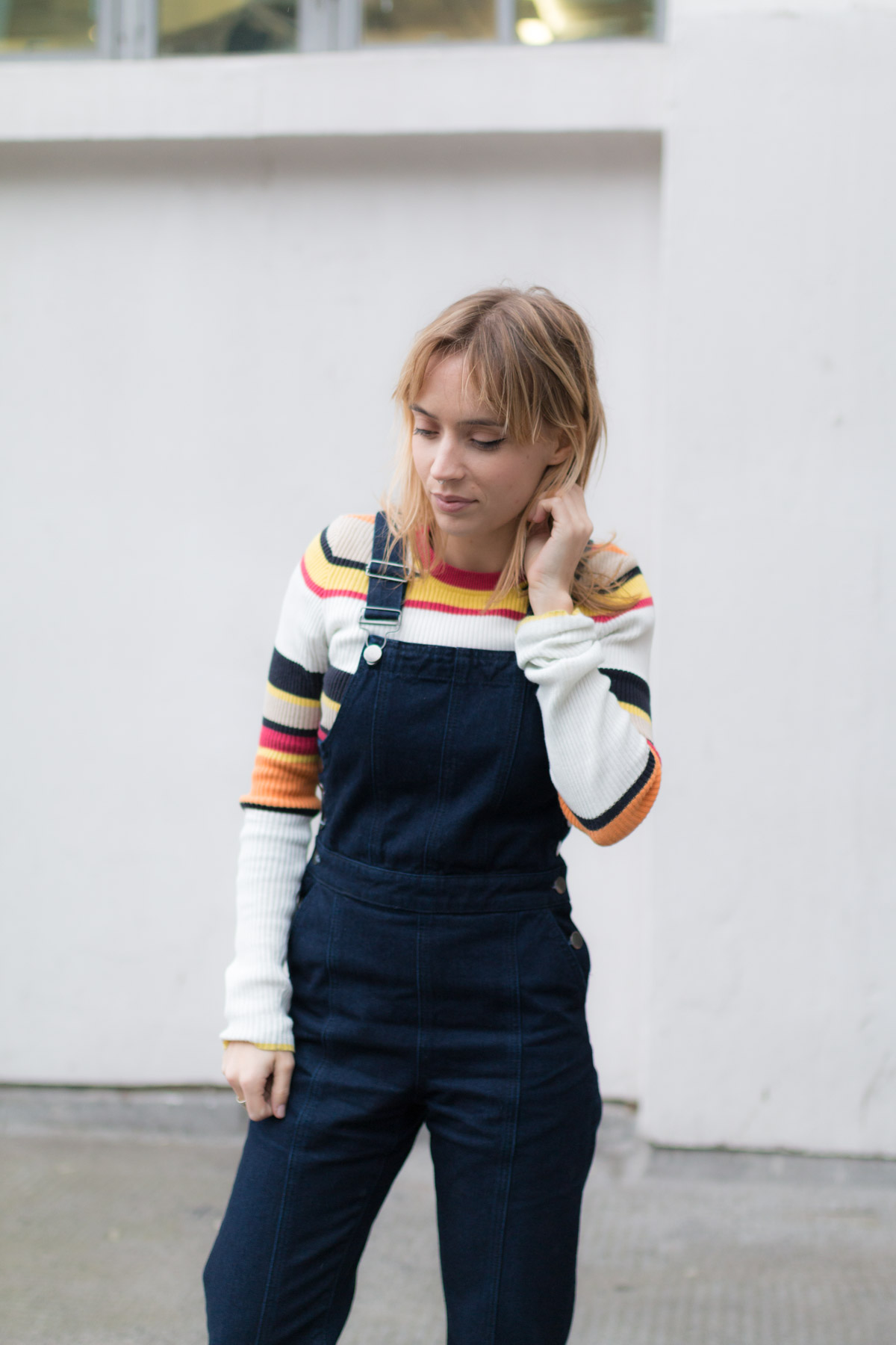 Salopette en jean pull raye et stan smith I Sp4nkblog-7