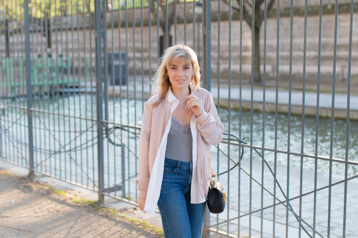 Bomber rose, body dentelle, denim et basket lapin  I Sp4nkblog_-3
