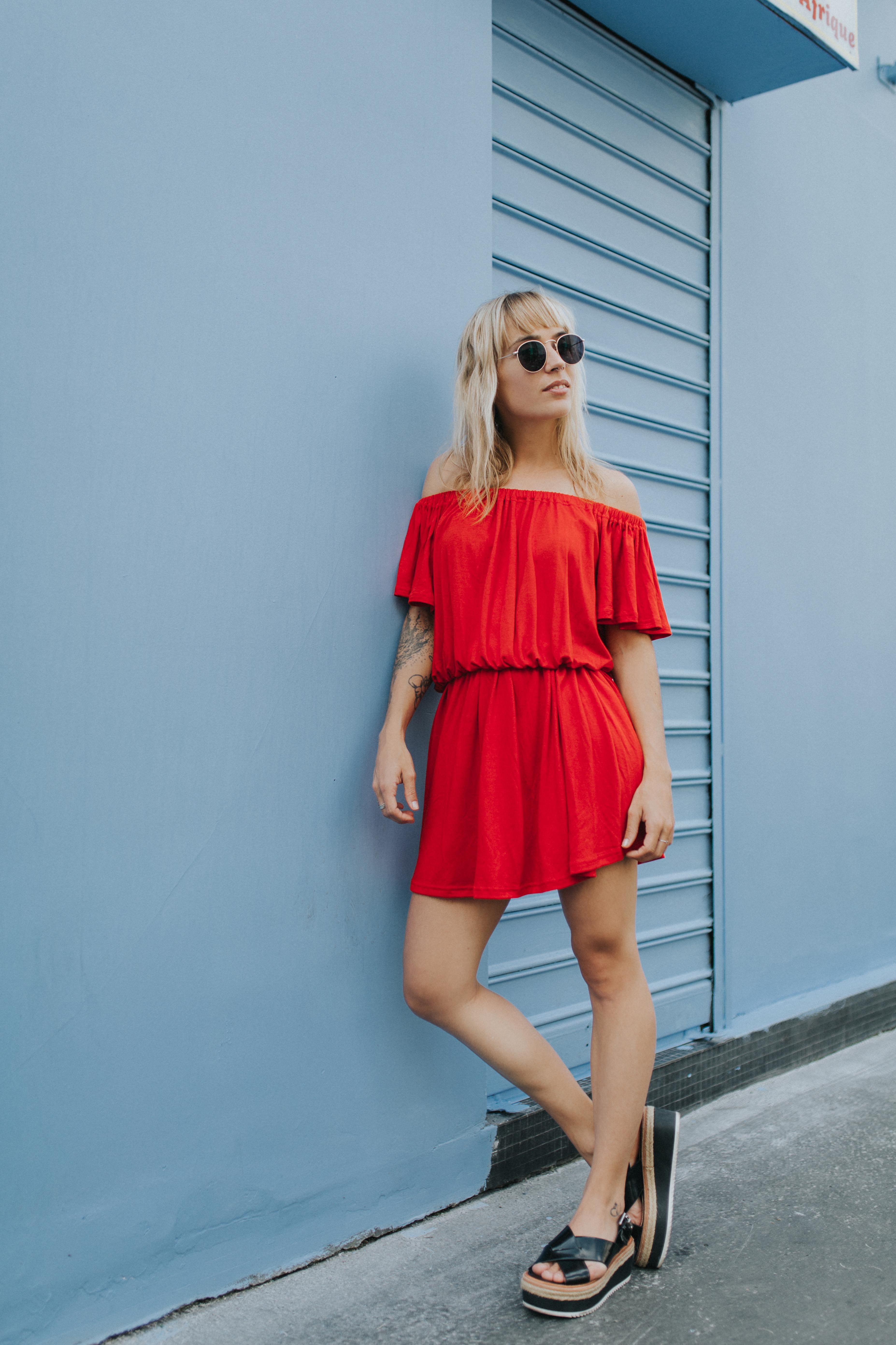 Robe rouge à épaules dénudées I Sp4nkblog par lyloutte 1