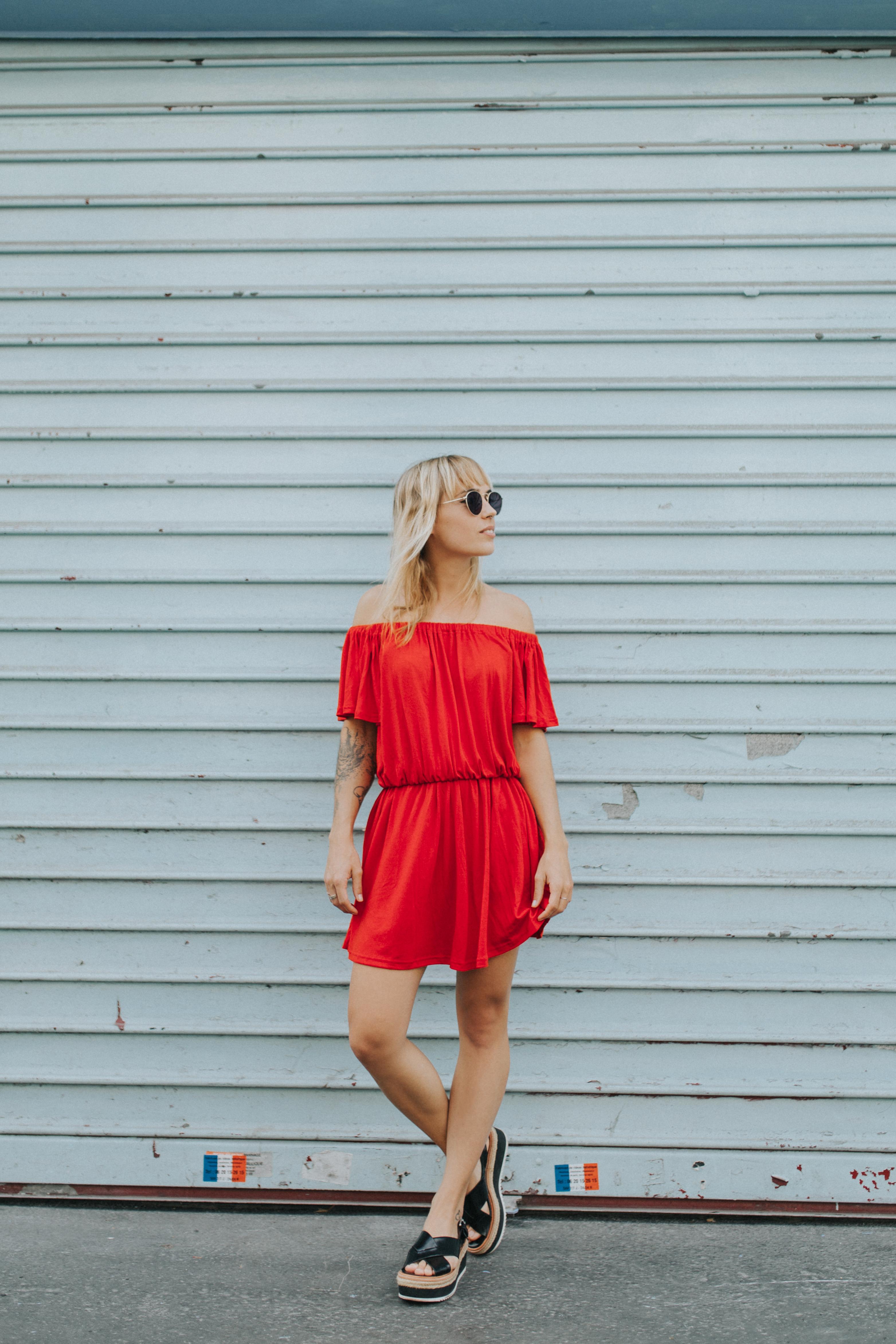 Robe rouge à épaules dénudées I Sp4nkblog par lyloutte 6