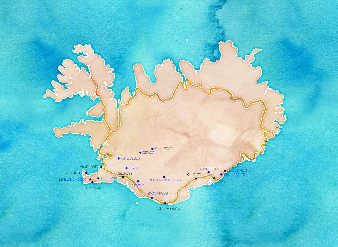 Islande carte itineraire pour 8 jours