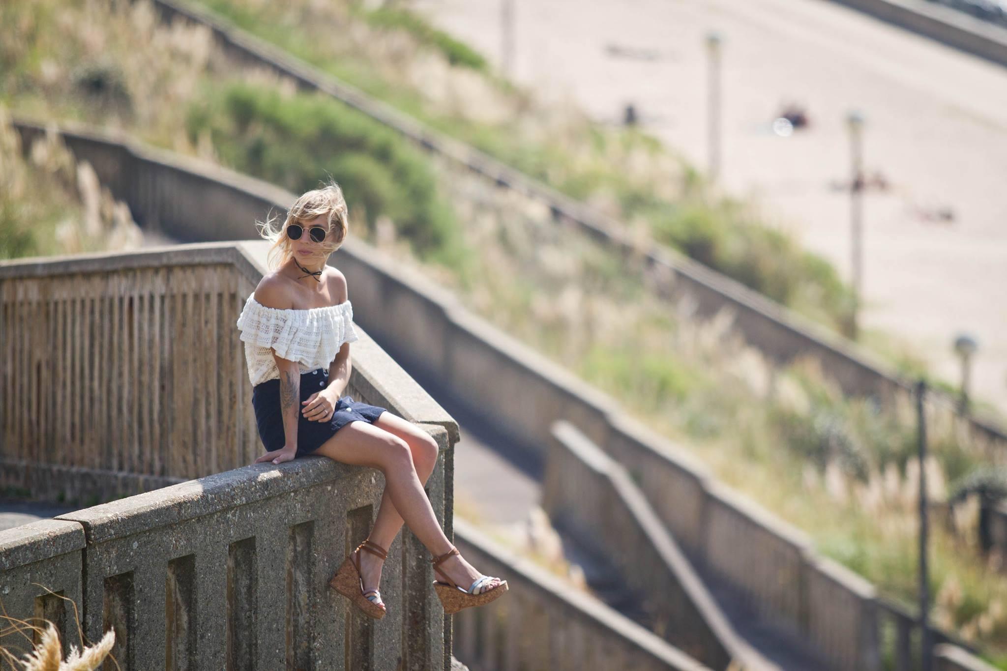Top épaules dénudées jupe en velours et sandales Kjacques I Sp4nkblog 2