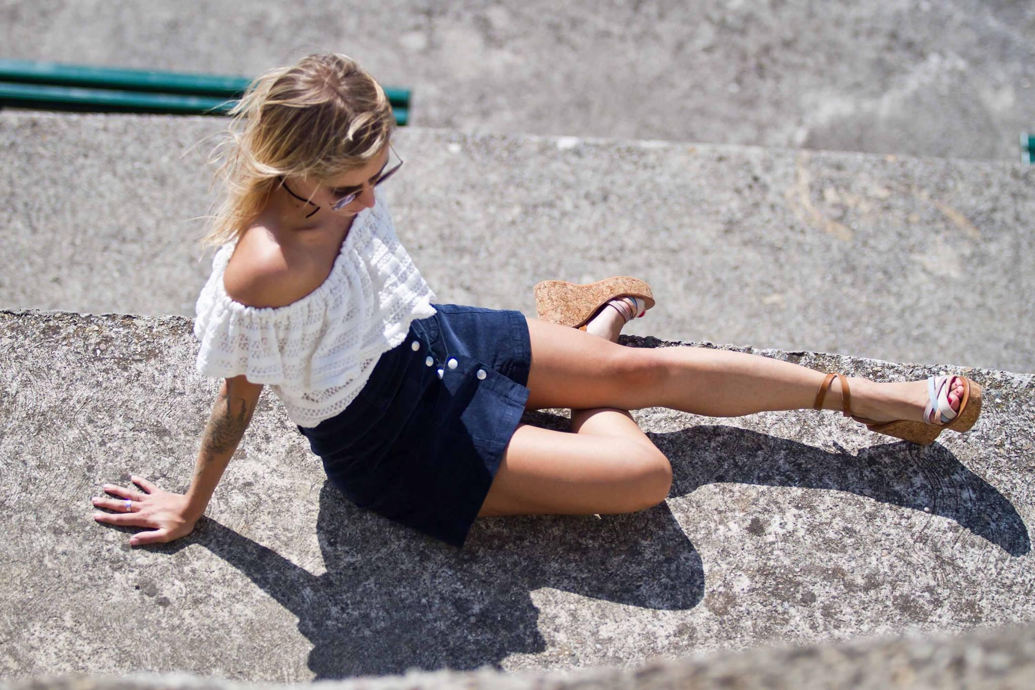 Top épaules dénudées jupe en velours et sandales Kjacques I Sp4nkblog 1