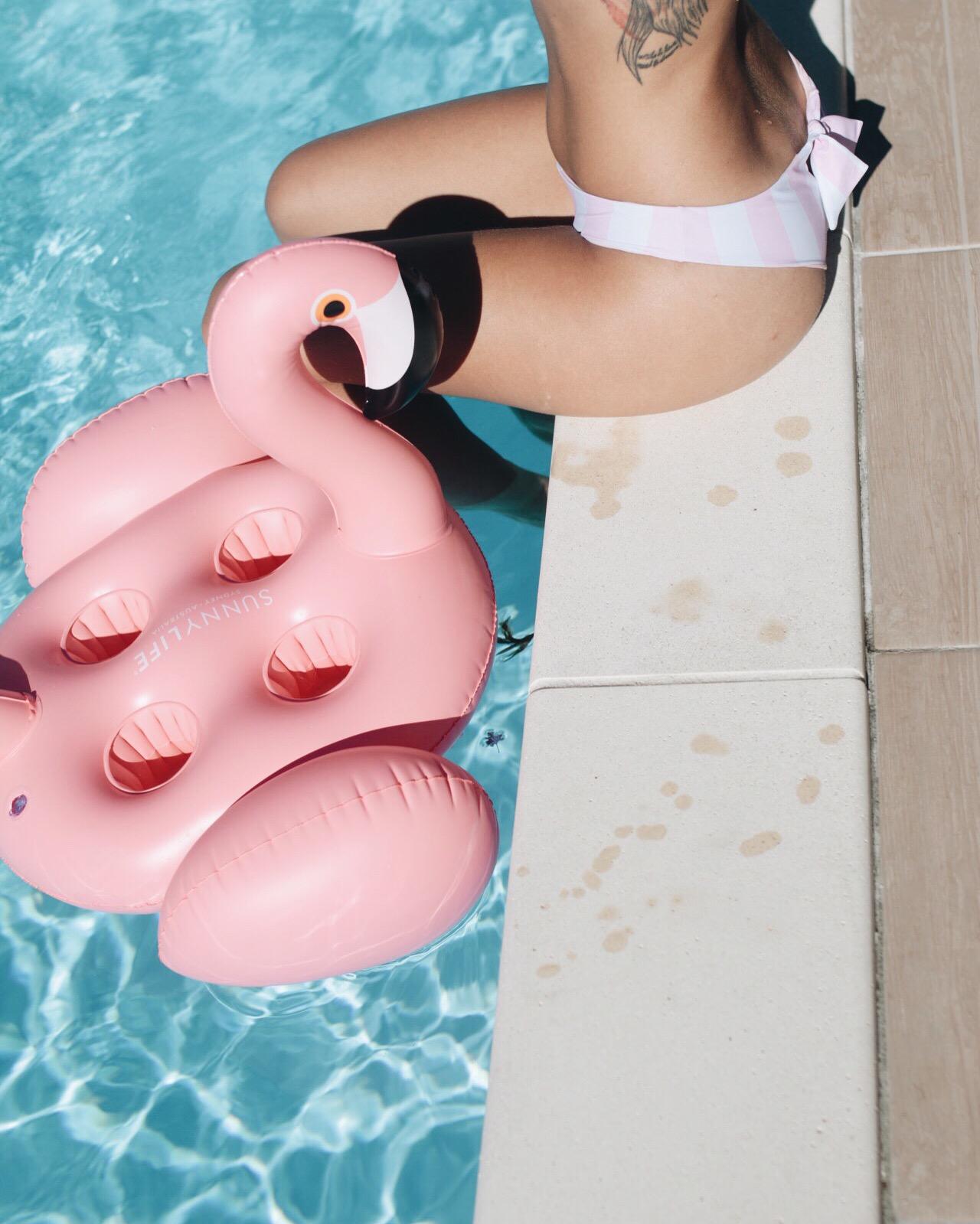 Flamand rose gonflable et maillot de bain rayé roseI Sp4nkblog