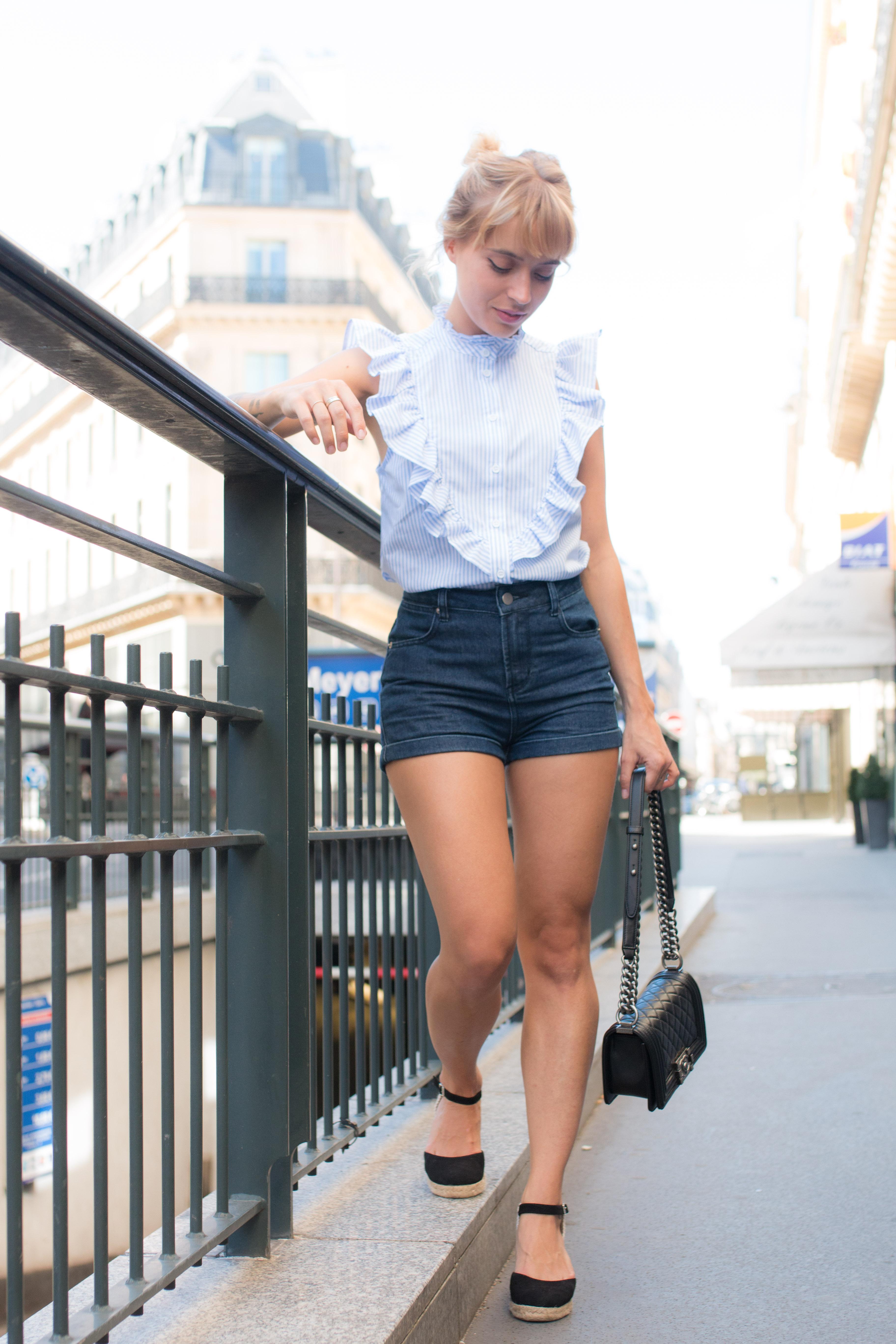 Top froufrou a rayures , short en jean et espadrille I Sp4nkblog-4