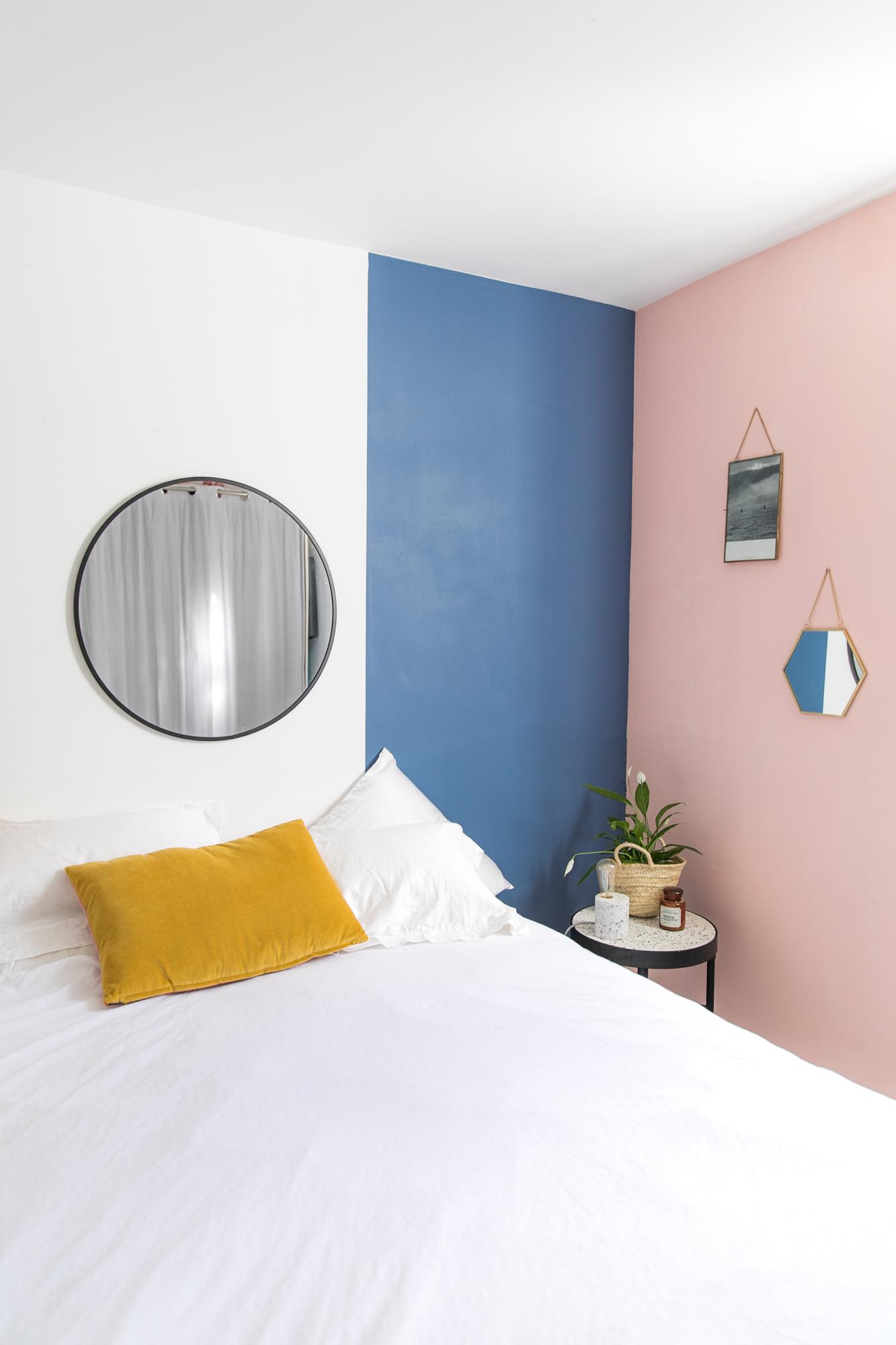 peinture-chambre-mur-bleu-rose
