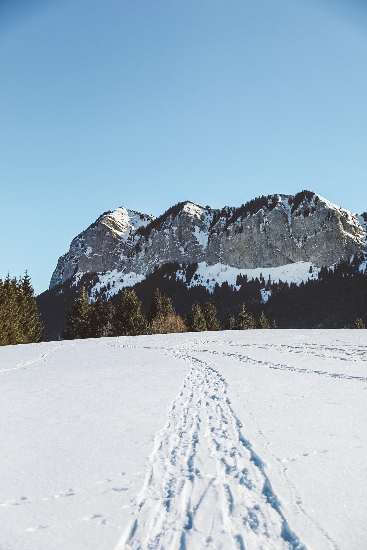 montagne enneigée à côté d'evian les bains