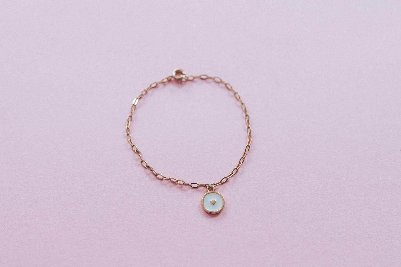 diy bijou Bracelet fin breloque coeur email-13