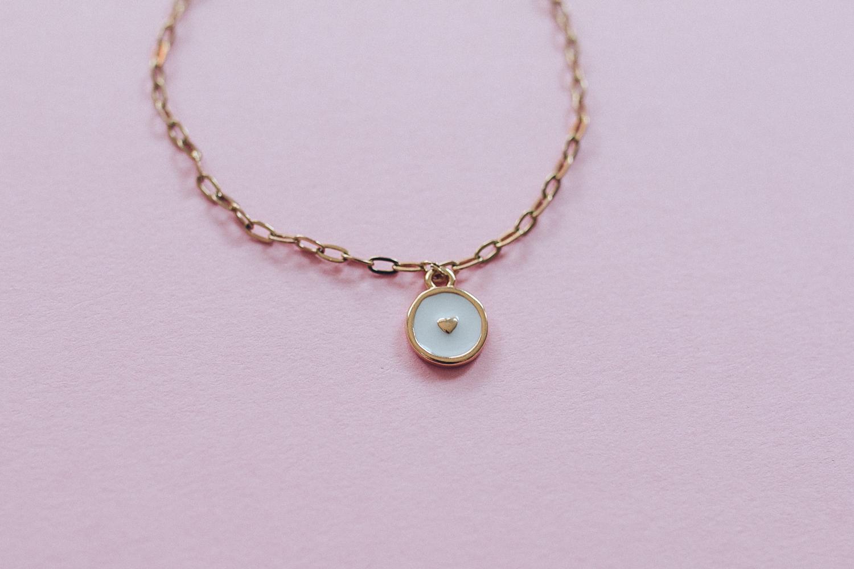 diy bijou Bracelet fin breloque coeur email-14