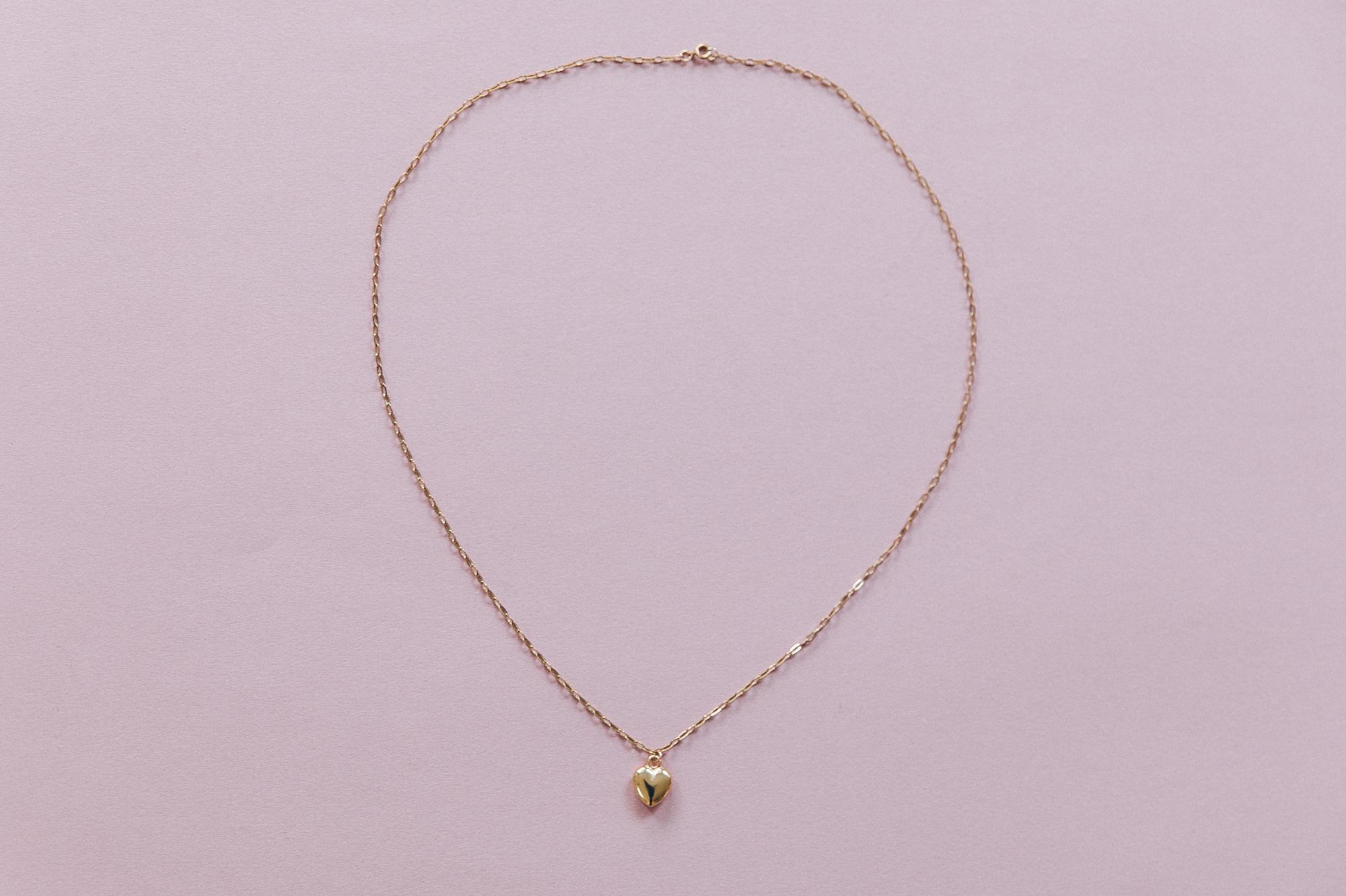 diy collier chaine maille et pendentif coeur doré-10