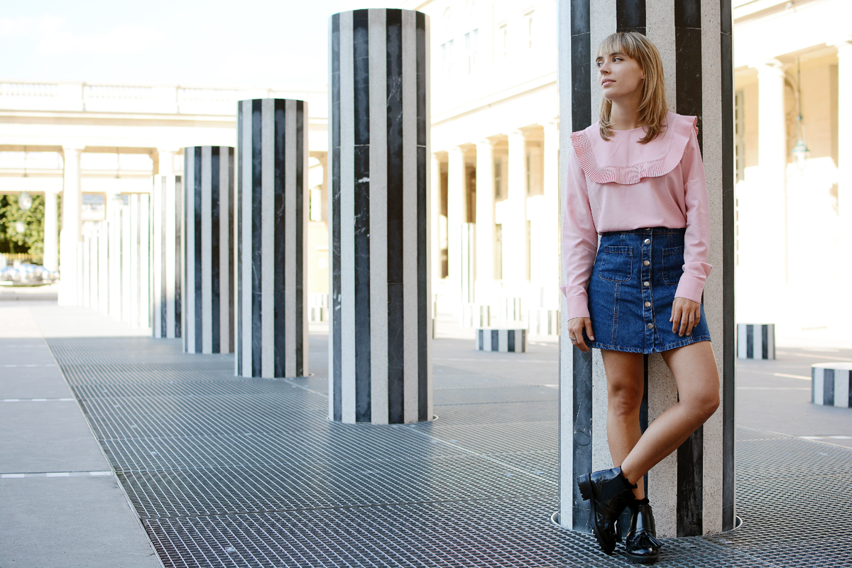 Look Blouse rose et jupe en denim I Sp4nk Blog
