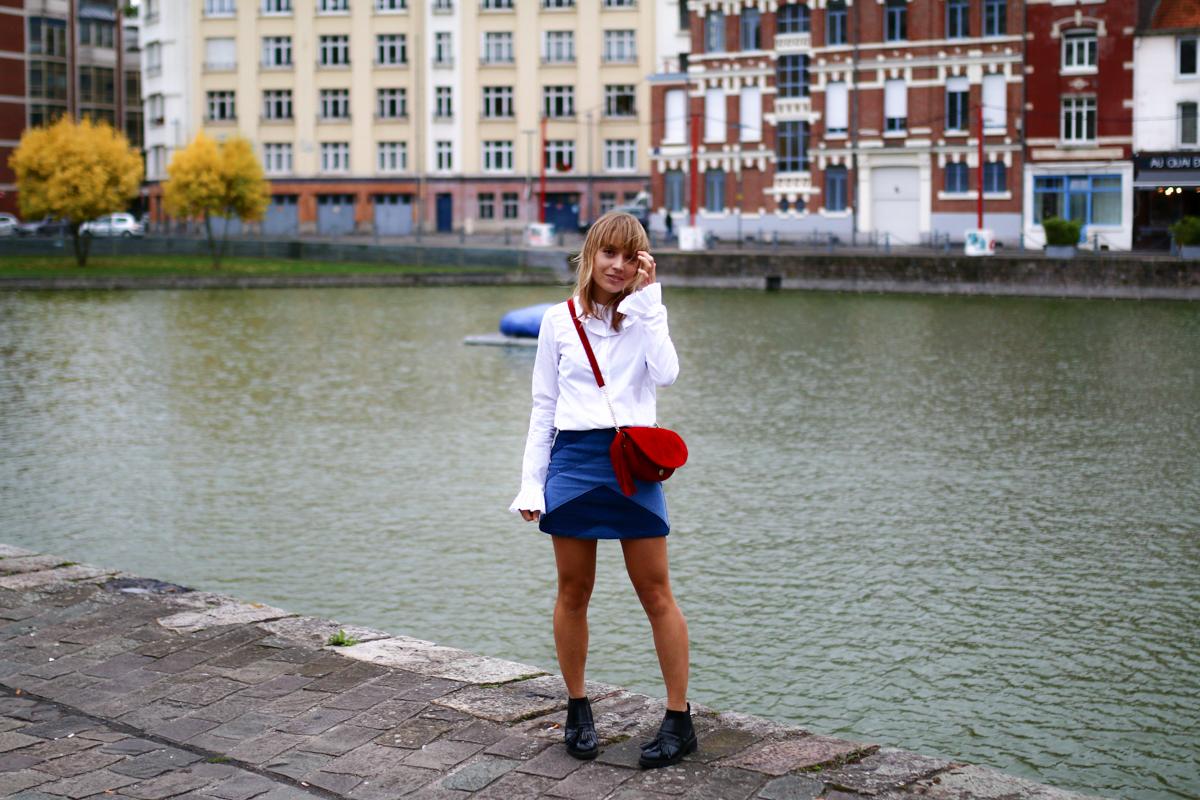 Look Seventies jupe en jean et chemise blanche I Sp4nkblog-3