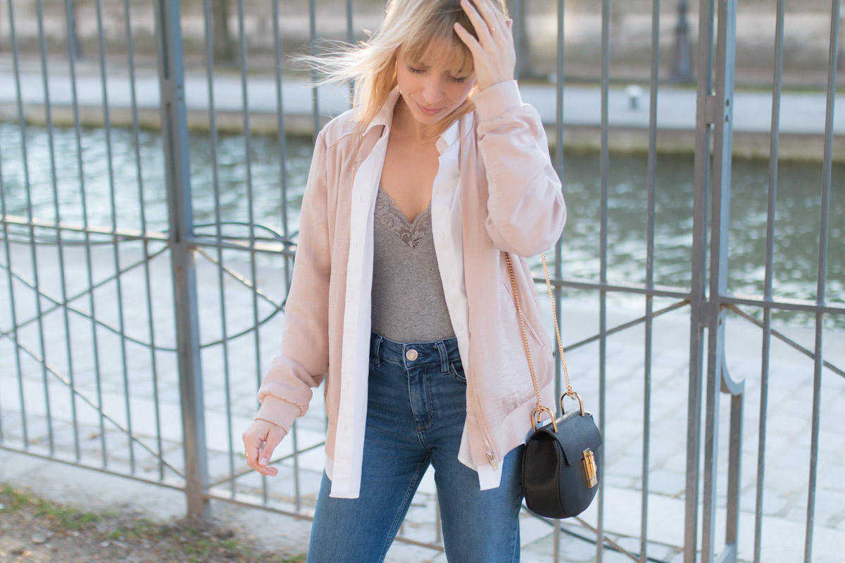 Bomber rose, body dentelle, denim et basket lapin I Sp4nkblog_-6