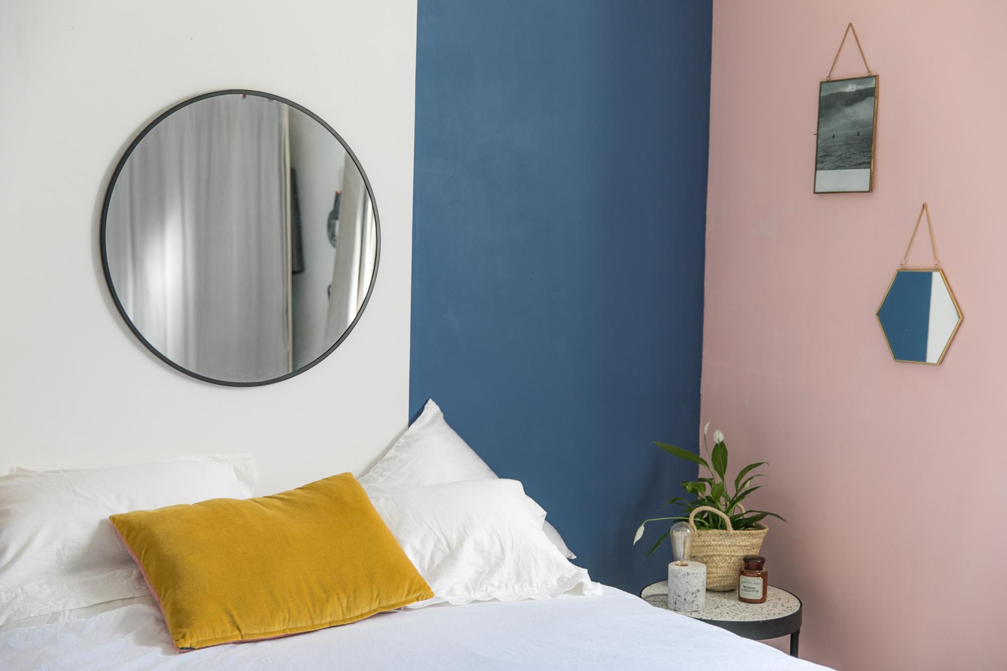 Peindre 2 Murs Sur 4 un mur bleu et rose dans ma chambre • sp4nk blog