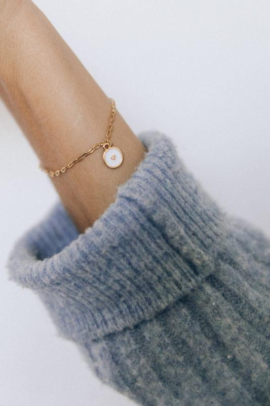 diy bijou Bracelet fin breloque coeur email-3